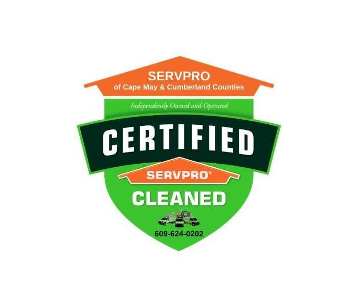 "SERVPRO shield with the words ""Certified: SERVPRO Cleaned."""