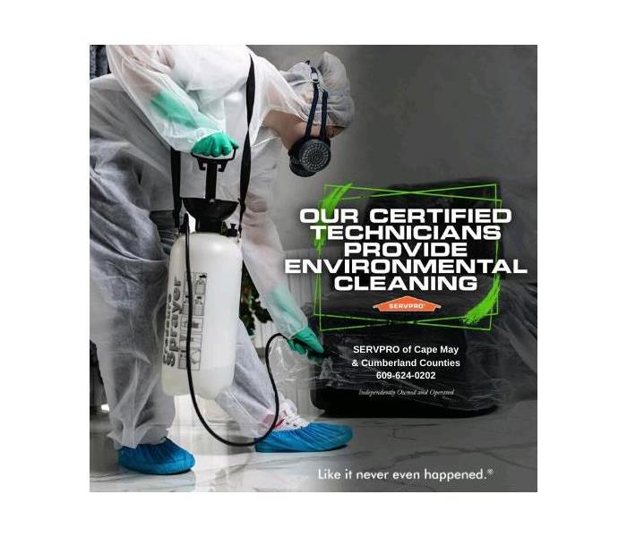 SERVPRO Technician performing environmental cleaning