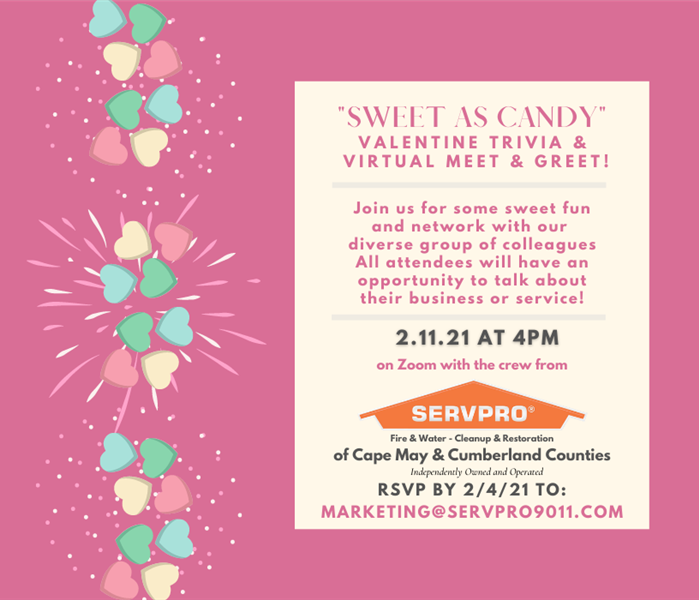 Photo of valentine candy and invitation to Sweet as Candy Networking event scheduled for 2/11/21 at 4 pm