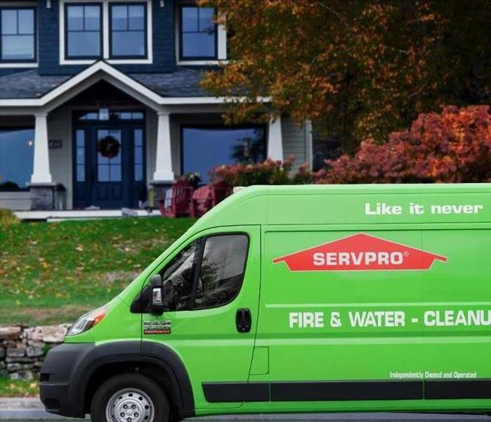 SERVPRO truck in front of residential home